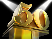 Golden Fifty On Pedestal Means Movie Awards Or Royalty Free Stock Photos