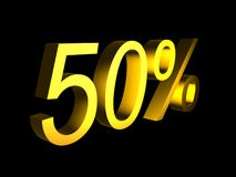 Golden fifty percent on black background 3d render. Sales financial concept Royalty Free Stock Photos