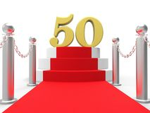 Golden Fifty On Red Carpet Shows Fiftieth Cinema. Golden Fifty On Red Carpet Showing Fiftieth Cinema Anniversary Or Remembrance Stock Photography