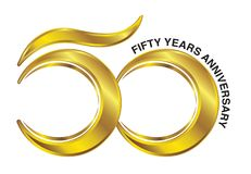 Golden Fifty Years Anniversary Logo stock images