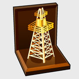 Golden figure electric tower in gift box Royalty Free Stock Images