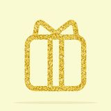 Golden figure gift. Golden gift. Element for greeting cards for the wedding, new year, birthday, holiday, celebration. Flat vector illustration. Objects isolated Stock Photo