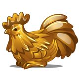 Golden figure of rooster. Chinese horoscope symbol. Eastern astrology. Sculpture isolated on white. Vector. Golden figure of rooster. Chinese horoscope symbol Royalty Free Illustration