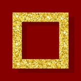 Golden figure square frame Royalty Free Stock Images