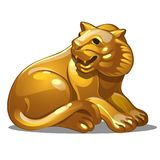 Golden figure of tiger. Chinese horoscope symbol. Calendar of 12 animals. Eastern astrology. Sculpture isolated on white background. Vector illustration Vector Illustration