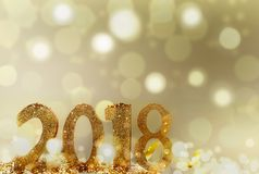 New year 2018. Golden figures 2018 on abstract bright background Royalty Free Stock Image