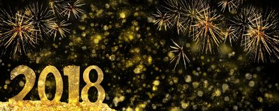 2018 golden figures on fireworks Royalty Free Stock Image