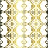 Golden filigree hearts seamless pattern Stock Photos