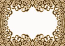 Golden Filigree Waves Water Frame. Abstract golden brown filigree waves border frame. Turbulent waves water effect Royalty Free Stock Image