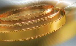 Golden Film. Cinema theme background. Gold color Royalty Free Stock Image