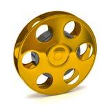 Golden film reel. 3d illustration of golden film reel Royalty Free Stock Images
