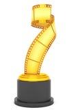 Golden Film Strip Award. 3d Rendering. Golden Film Strip Award on a white background. 3d Rendering Stock Photography