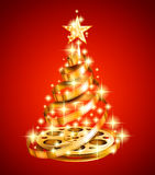 Golden Film Strip Christmas Tree Royalty Free Stock Images
