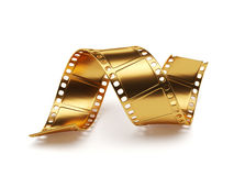 Golden film strip  on white background. Entertainment co. 3d rendering of golden film strip  on white background. Entertainment concept Royalty Free Stock Image