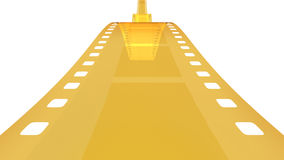 Golden filmstrip. 3D rendering of gold-colored 35mm photographic film Stock Photo