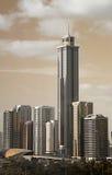 Dubai Skyscrapers Behind Metro Station Stock Photos