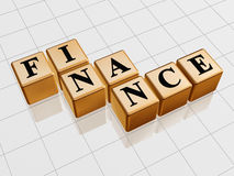 Golden finance. 3d golden boxes with text - finance, word Stock Image