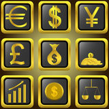 Golden finance buttons Stock Image