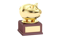 Golden Financial Award, 3D rendering. On white background Royalty Free Stock Photos