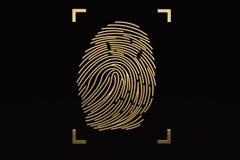 Golden fingerprin on black background. 3D illustration. Golden fingerprin on black background. 3D illustration stock illustration