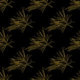 Golden fir branches decor seamless pattern. Vector illustration for your design Stock Photo