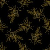 Golden fir branches decor seamless pattern. Vector illustration for your design Royalty Free Stock Photography