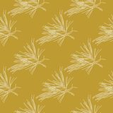 Golden fir branches decor seamless pattern. Vector illustration for your design Royalty Free Stock Images