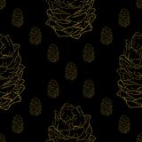 Golden fir cones decor seamless pattern. Vector illustration for your design Royalty Free Stock Images
