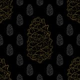 Golden fir cones decor seamless pattern. Vector illustration for your design Stock Photography