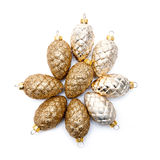 Golden fir cones Royalty Free Stock Photography