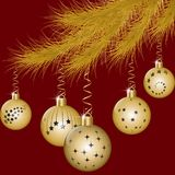 Fir-tree branch decorated with Christmas balls. Golden fir-tree branch decorated with golden christmas balls. Vector illustration EPS10 Royalty Free Stock Photo