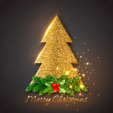 Golden fir-tree with Christmas decorative fir branches and holly. Gold glowing lights, black background. Vector illustration Stock Photo