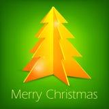 Golden fir tree on green. Golden Christmas fir tree on green background, vector illustration Stock Image