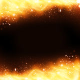 Golden fire cover, party spotlights neon background Stock Photos