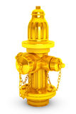 Golden Fire Hydranton 3d rendering. Golden Fire Hydranton a white background 3d rendering Stock Photos