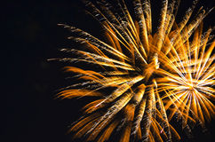 Golden Fire in the Sky. Golden fireworks in the sky royalty free stock photo