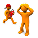 Golden fireman. Abstract golden fireman figure with a fire extinguisher and anxious bystander Stock Image