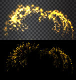 Golden firework explode on black sky  Royalty Free Stock Images