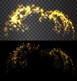 Golden firework explode on black sky  Royalty Free Stock Images
