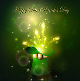 Golden firework in green hat. For Saint Patrics Day Royalty Free Stock Photography