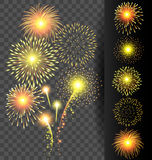 Golden firework set on translucent background for Christmas and Royalty Free Stock Images