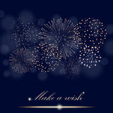 Golden firework show on ambient blue blurred background. Make a wish concept. Vector illustration Stock Images