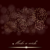 Golden firework show on ambient burgundy blurred background. Make a wish concept. Vector illustration Stock Photos