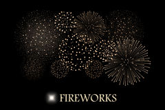 Golden firework show  on black background. Vector illustration Royalty Free Stock Photos