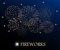 Golden firework show on night sky background. Vector illustration Stock Photos