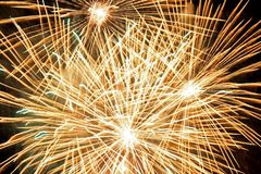 Golden fireworks Royalty Free Stock Photography