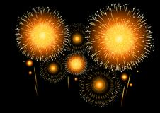 Golden Fireworks. A collection of golden  fireworks display Stock Photo