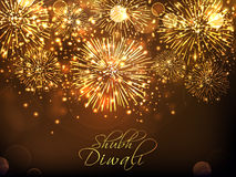 Golden fireworks background for Diwali. Golden sparkling festive background with firework explosion, Elegant Poster, Banner or Flyer for Indian Festival of Royalty Free Stock Photography