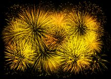 Golden fireworks background Stock Images
