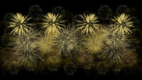 Golden fireworks on black background Royalty Free Stock Image